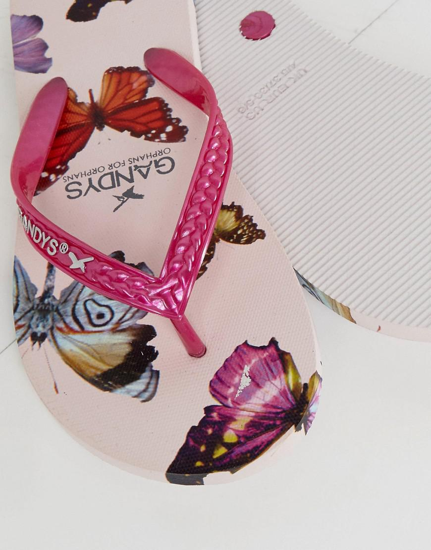 b4540e5610839c Lyst - Gandys Slim Line Thongs With Butterfly Print in Pink