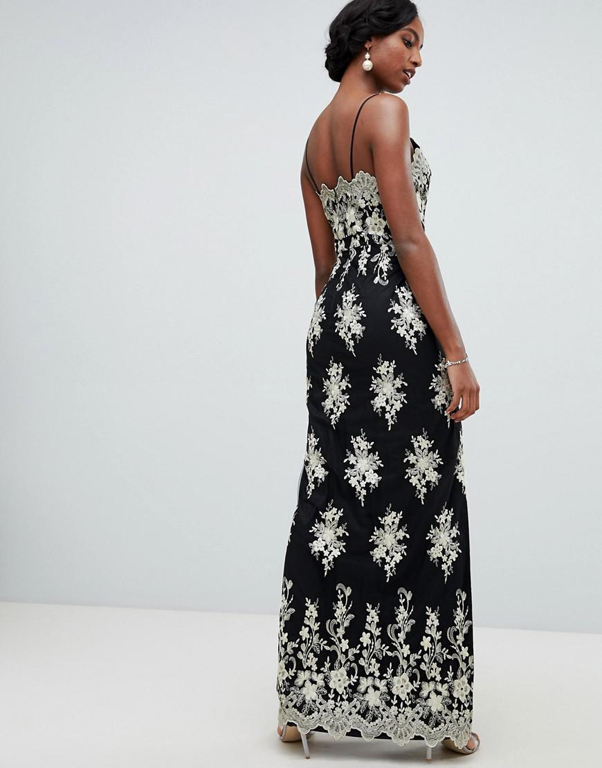 2e5e9bbaa3 Chi Chi London Scalloped Plunge Maxi Prom Dress With Gold Embroidery In  Black in Black - Lyst