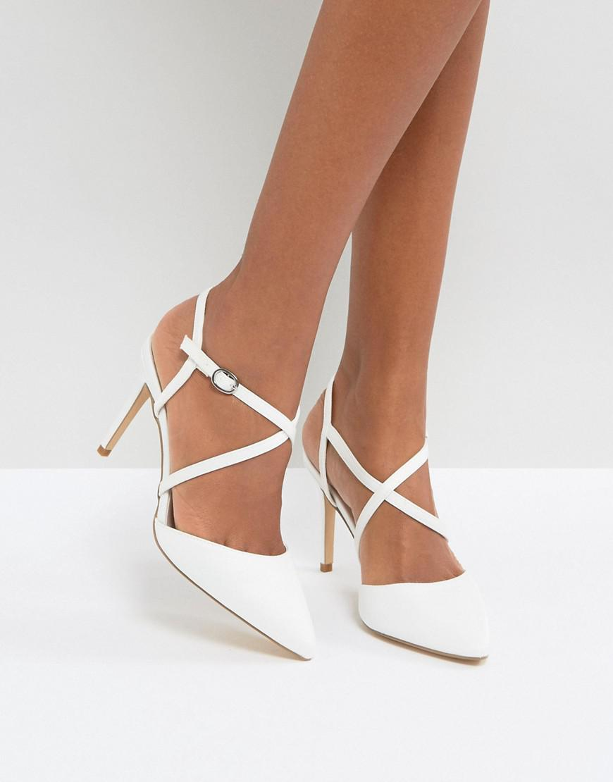 8bdd908ab43 New Look Cross Front Pointed Heeled Shoes in White - Lyst