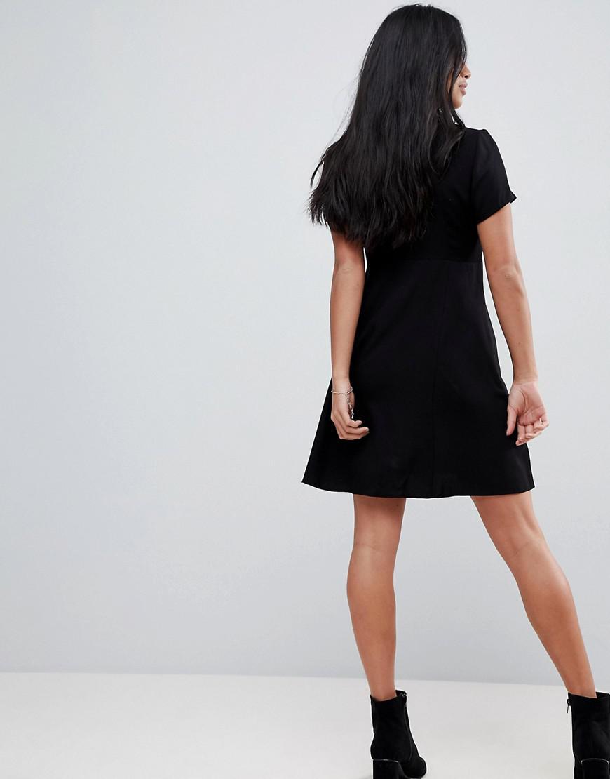 4083102cf371 ASOS Button Through Mini Skater Dress in Black - Lyst