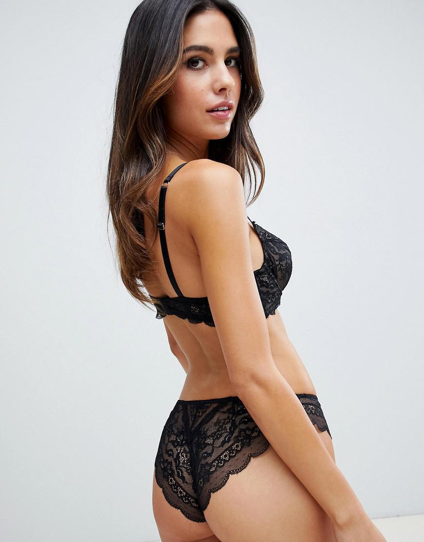 cb538feb09 Lyst - ASOS Roxy Lace Hipster Bikini Bottom in Black