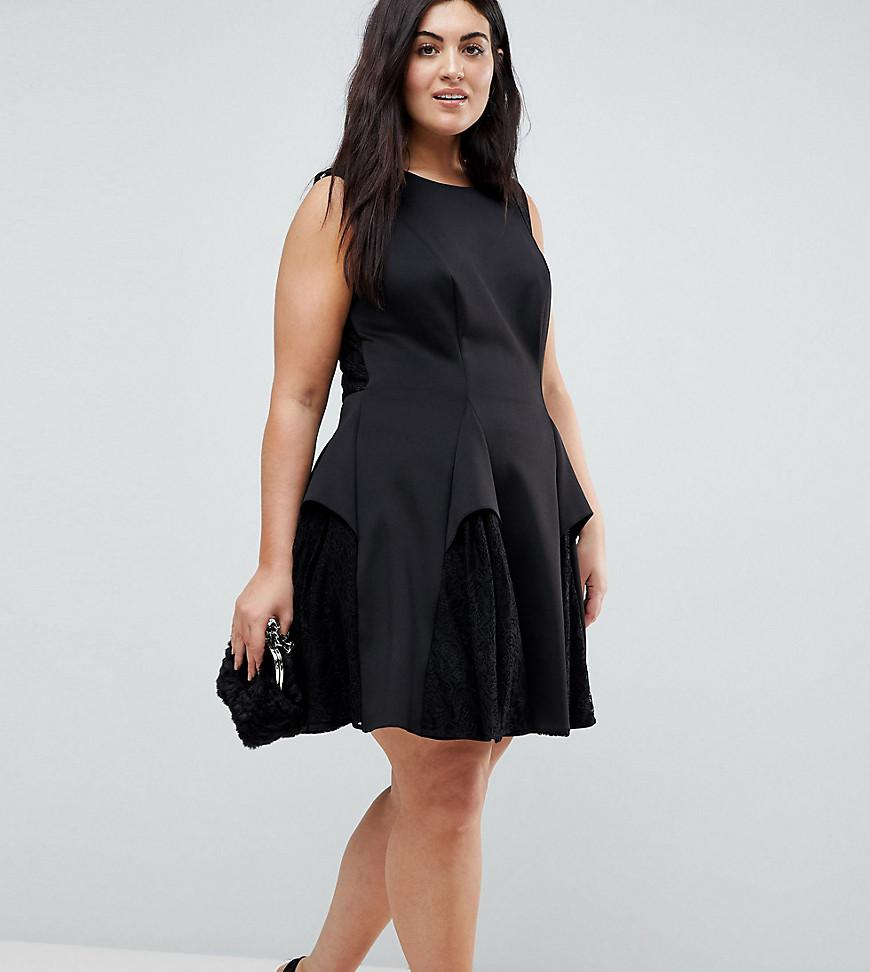 ASOS Scuba Lace Godet Mini Dress in Black - Lyst 5974f0ba1