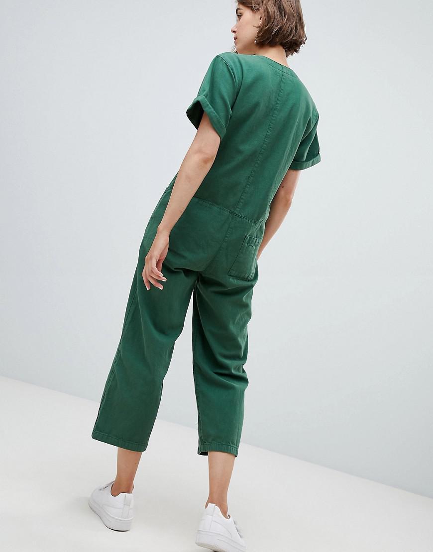 46199b4f6fe Lyst - Monki Denim V Button Front Jumpsuit in Green