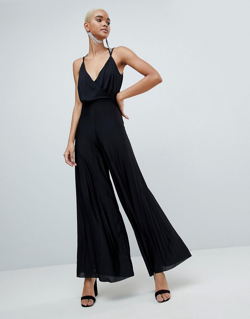 Sale Cheap Price Free Shipping Release Dates DESIGN Jersey Jumpsuit With Blouson Drape Bodice And Pleated Wide Leg - Black Asos LuTONIgbd
