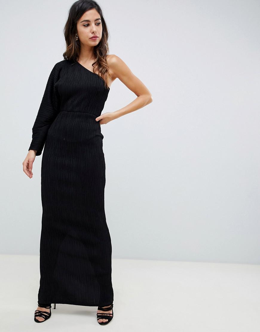 ca53b2ee8f Lyst - ASOS One Sleeve Metallic Plisse Maxi Dress in Black