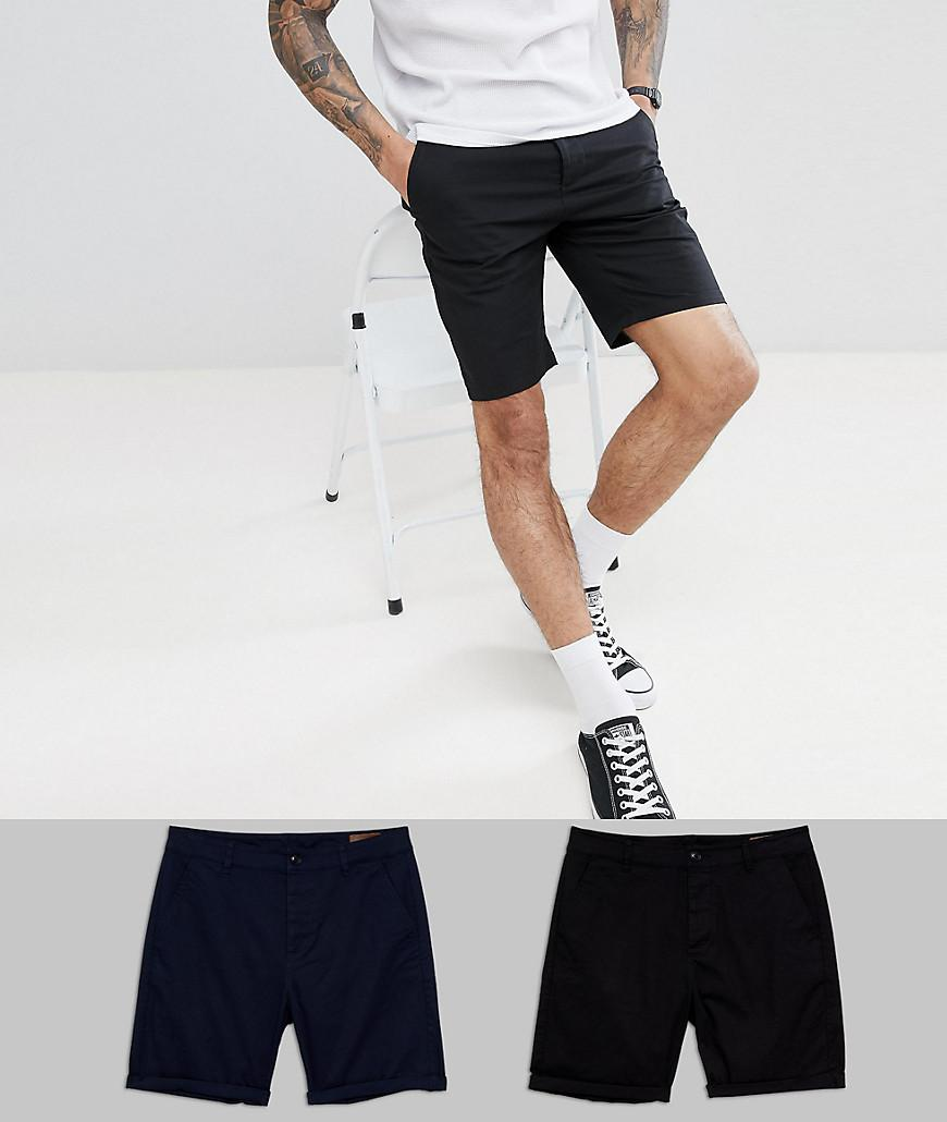 Design 2 Slim Pack Short Chino En Noir Et Flocons D'avoine Sauver - Asos Noir / Flocons D'avoine MEROYC