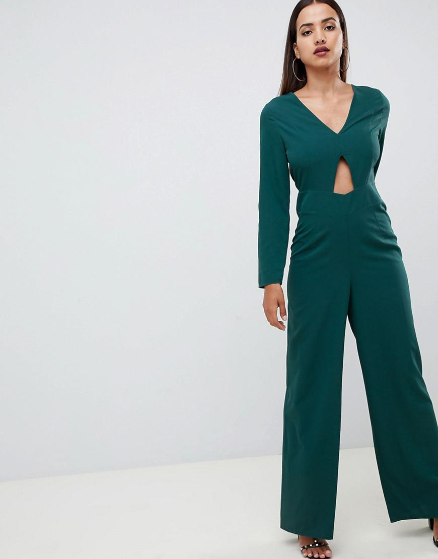 80f12f2b736d ASOS Jumpsuit With Cut Out Detail And Wide Leg in Black - Lyst