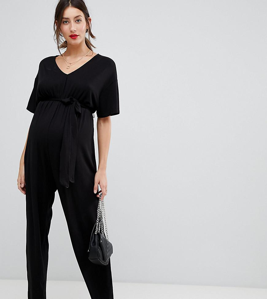 f5e0322b64 ASOS Asos Design Maternity Belted Jumpsuit With Kimono Sleeve in ...