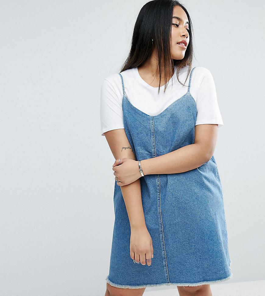 858d629f986 ASOS Denim Slip Dress With Raw Hem In Mid Wash Blue in Blue - Lyst