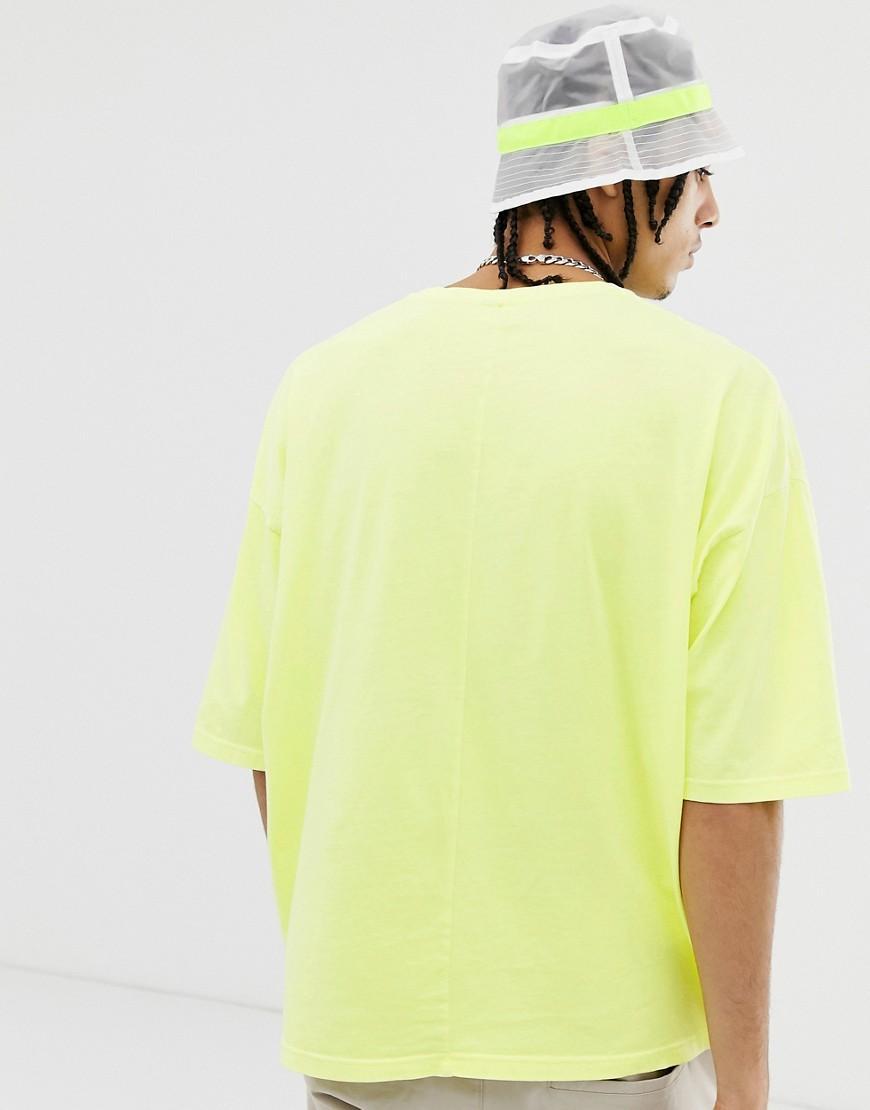 2e43c2bfa5692 T-shirt oversize à manches mi-longues - Jaune fluo délavé ASOS pour homme  en coloris Jaune - Lyst