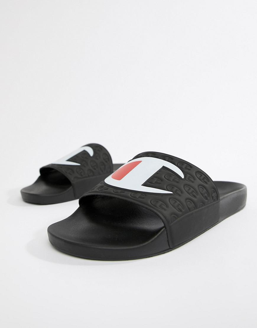 2aead29ea9532 Champion Sliders With Large Logo In Black in Black for Men - Save 48 ...
