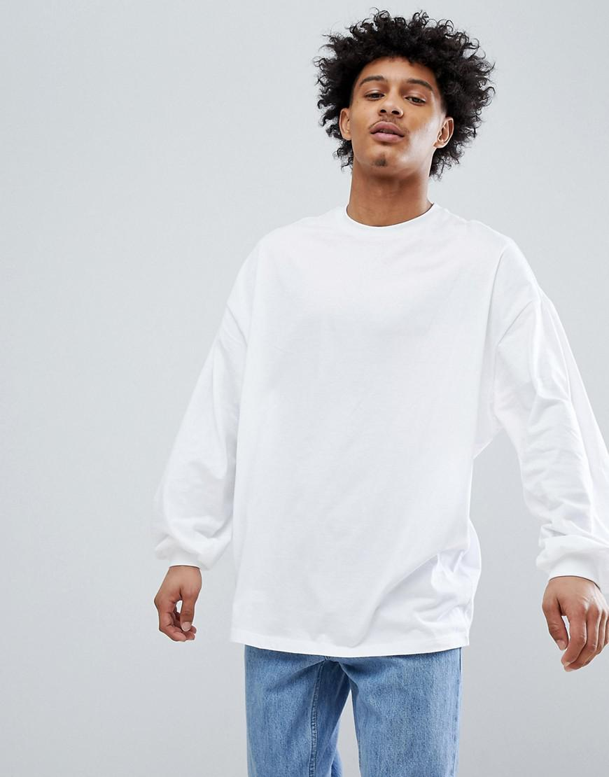 Discount View Authentic Cheap Price DESIGN oversized long sleeve t-shirt with bellowing sleeve in white - White Asos For Sale Sale Online Sale 2018 rt2jbwO