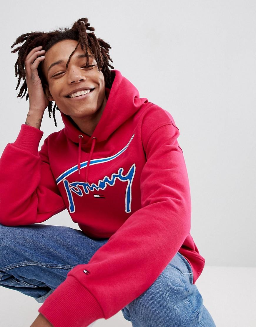 98cdb7feb03e52 Lyst - Tommy Hilfiger Signature Capsule Logo Front Hoodie Relaxed ...