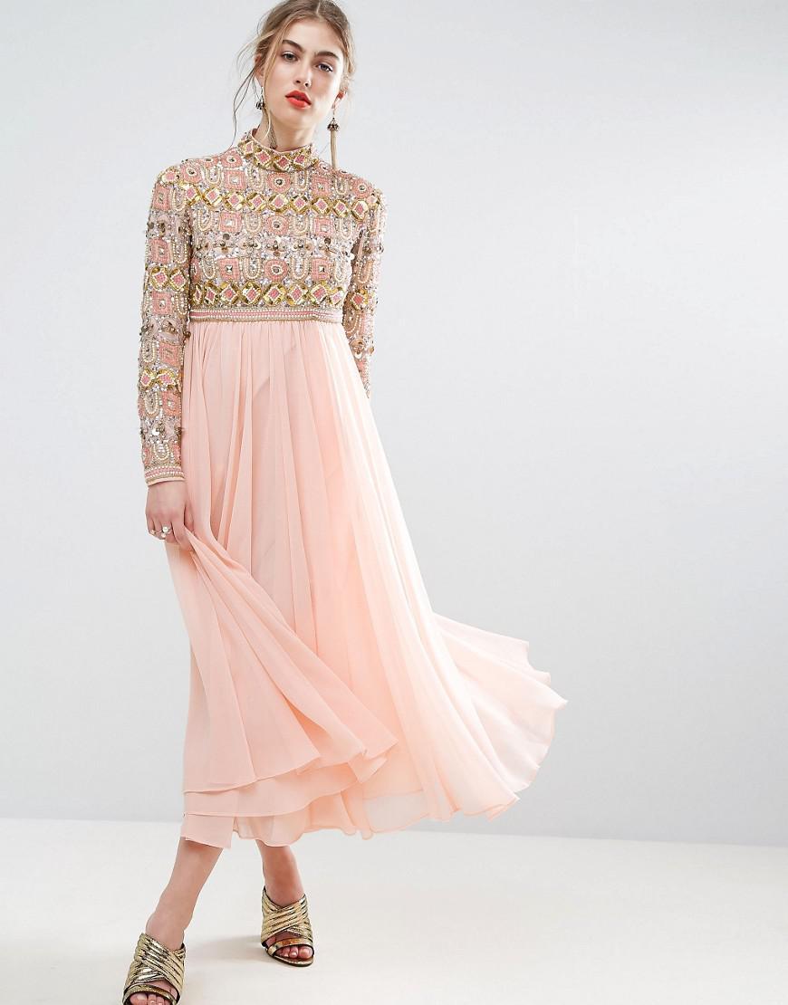 ASOS Salon High Neck Embellished Midi Skater Dress With