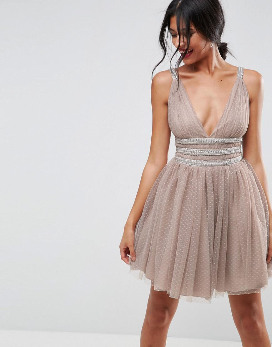 Lyst - ASOS Asos Tulle Strappy Embellished Mini Skater Dress in Natural 9c33827e5ac