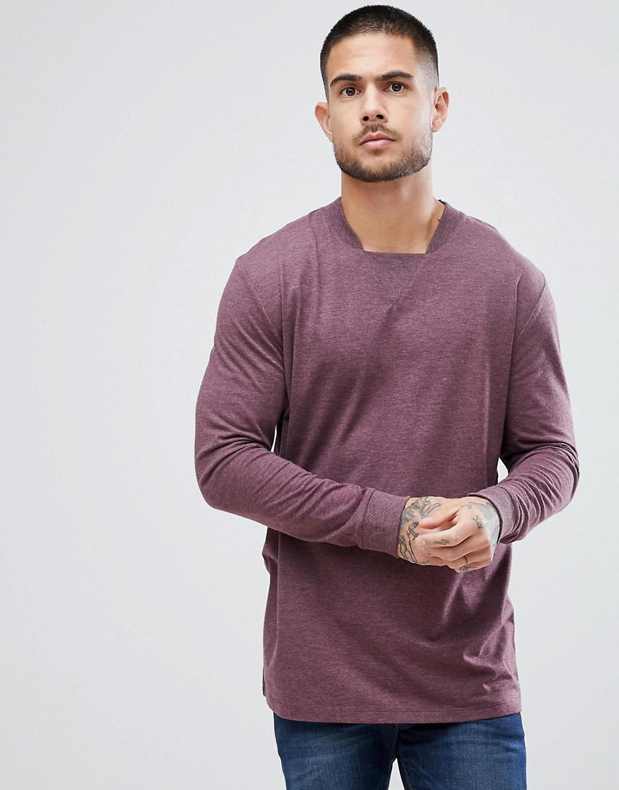 9ac81112a9d9ff ASOS Oversized Long Sleeve T-shirt With Neck Detail And Cuff In Red ...