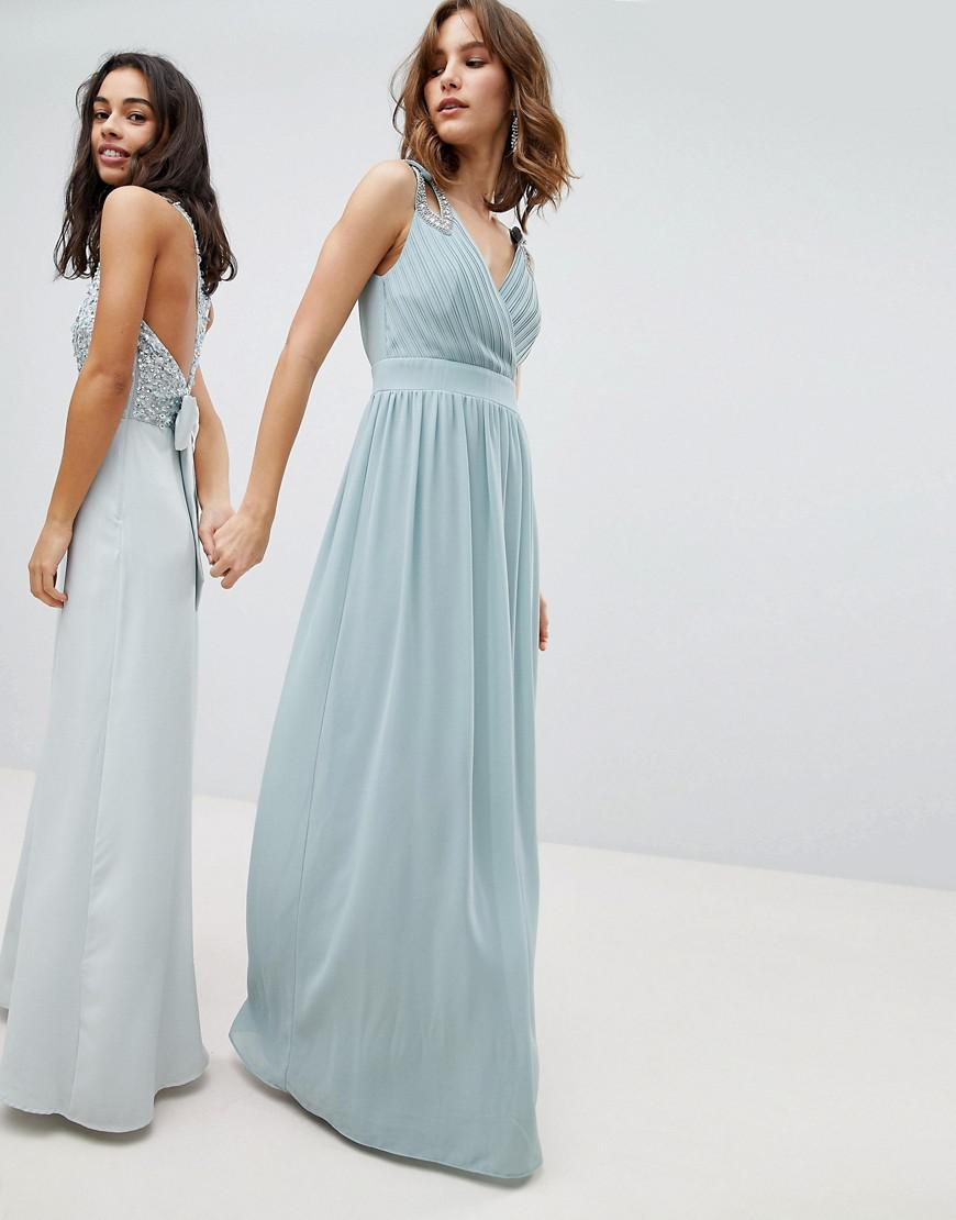 Lyst - Tfnc London Wrap Front Maxi Bridesmaid Dress With ...