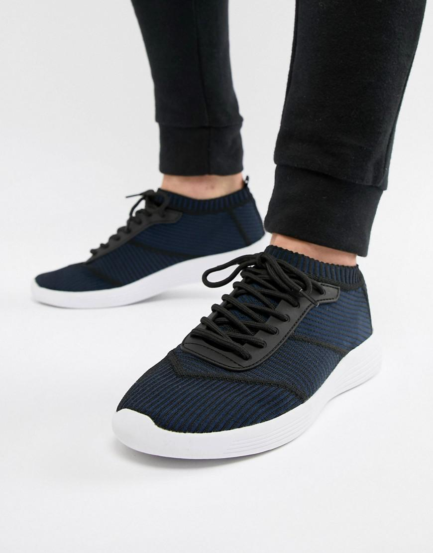 de9a06a72c6 ASOS Sock Sneakers In Navy Knit With Laces in Blue for Men - Lyst