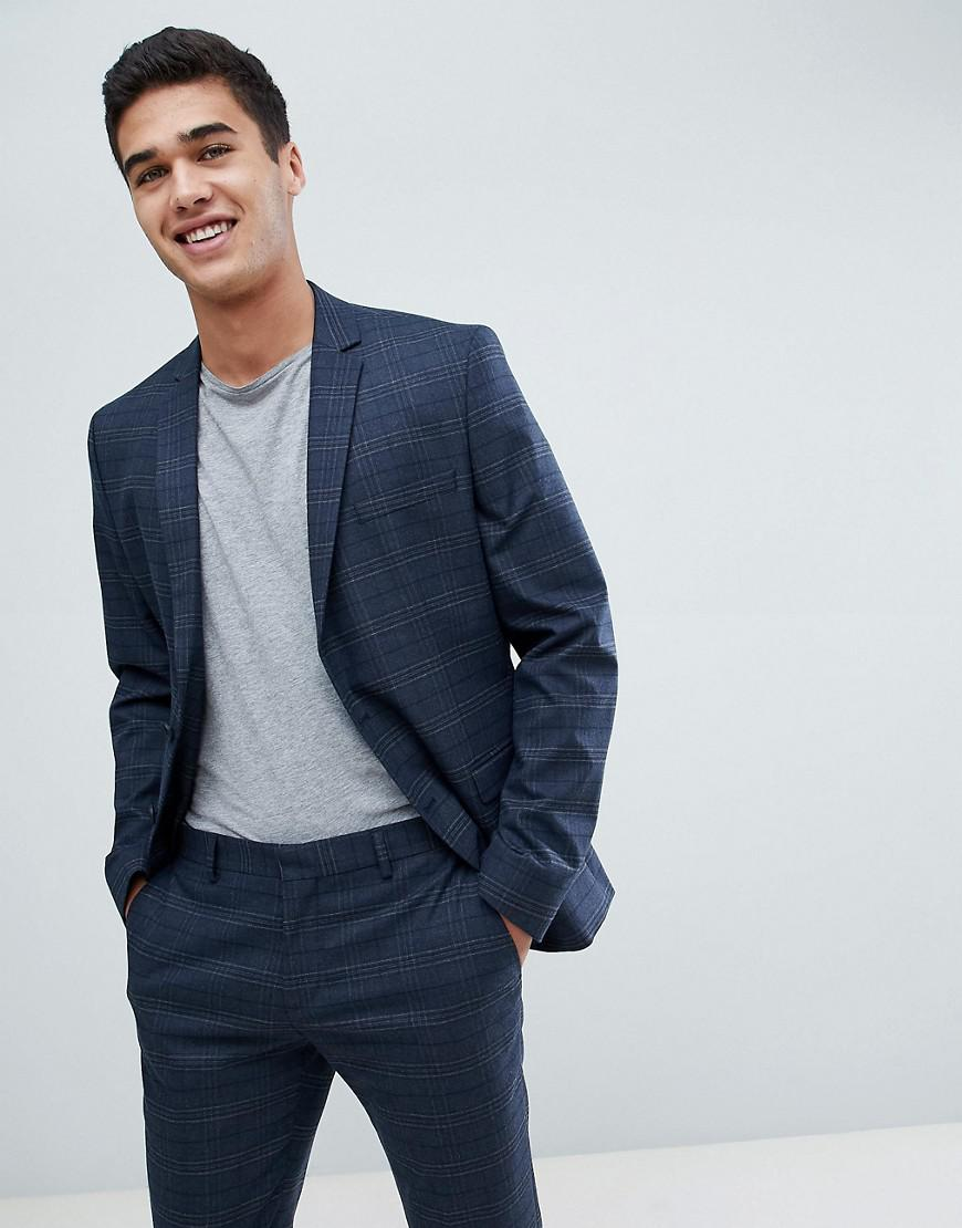 d244c93f881e SELECTED Skinny Suit Jacket In Navy Check With Stretch in Blue for ...