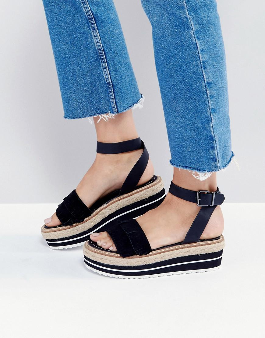 205e92b816 Sixtyseven Flatform Espadrille Suede Leather Sandal in Black - Lyst