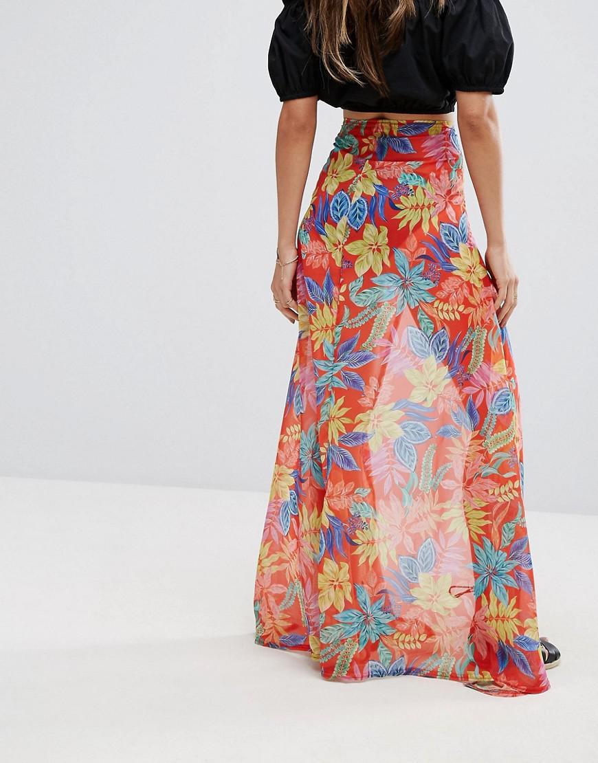 2da7226b1169 Lyst - PrettyLittleThing Chiffon Tropical Print Maxi Skirt