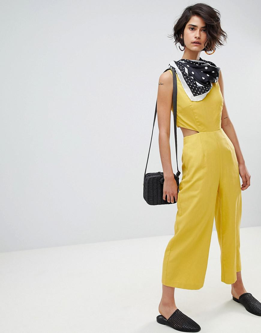 74eaf0817487 Lyst - Warehouse Linen Cut Out Detail Culotte Jumpsuit in Yellow