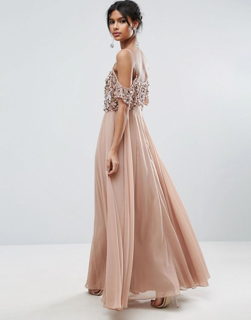 Asos Floral Embellished Cold Shoulder Maxi Dress In Pink