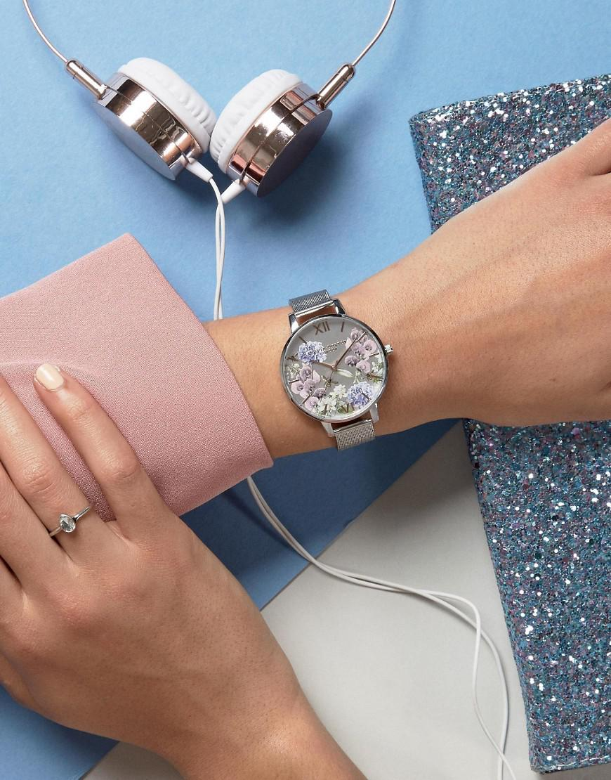1c8c3d3ad4a9 Lyst - Olivia Burton Parlour Be Floral Silver Mesh Watch in Metallic