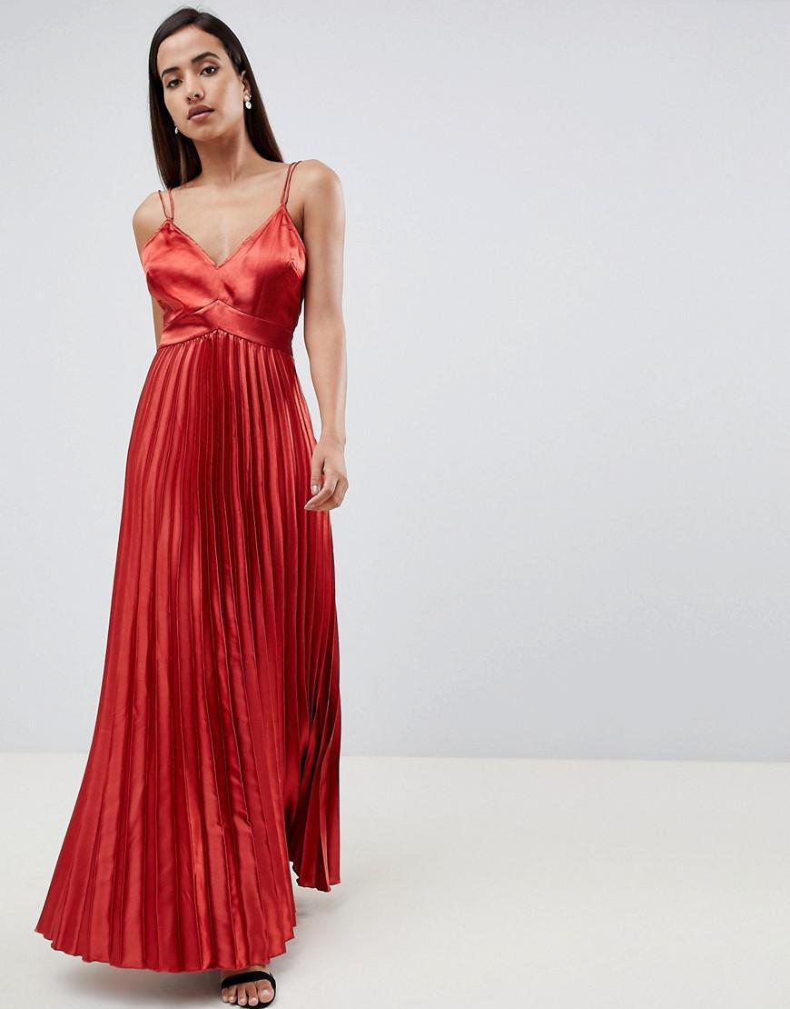 73f9620d7e8d Lyst - ASOS Cami Pleated Satin Maxi Dress in Orange