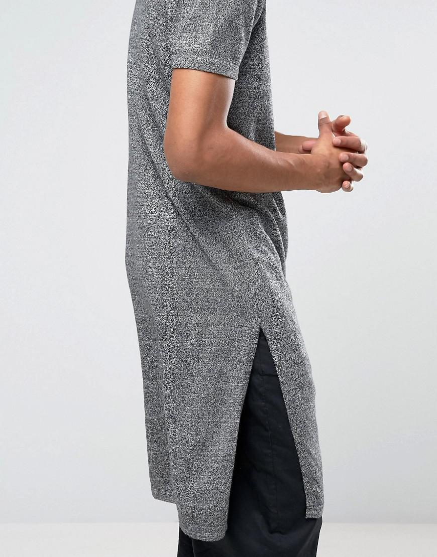 4747ef4b1125 ASOS Super Longline Knitted T-shirt With Extra Long Side Splits in ...
