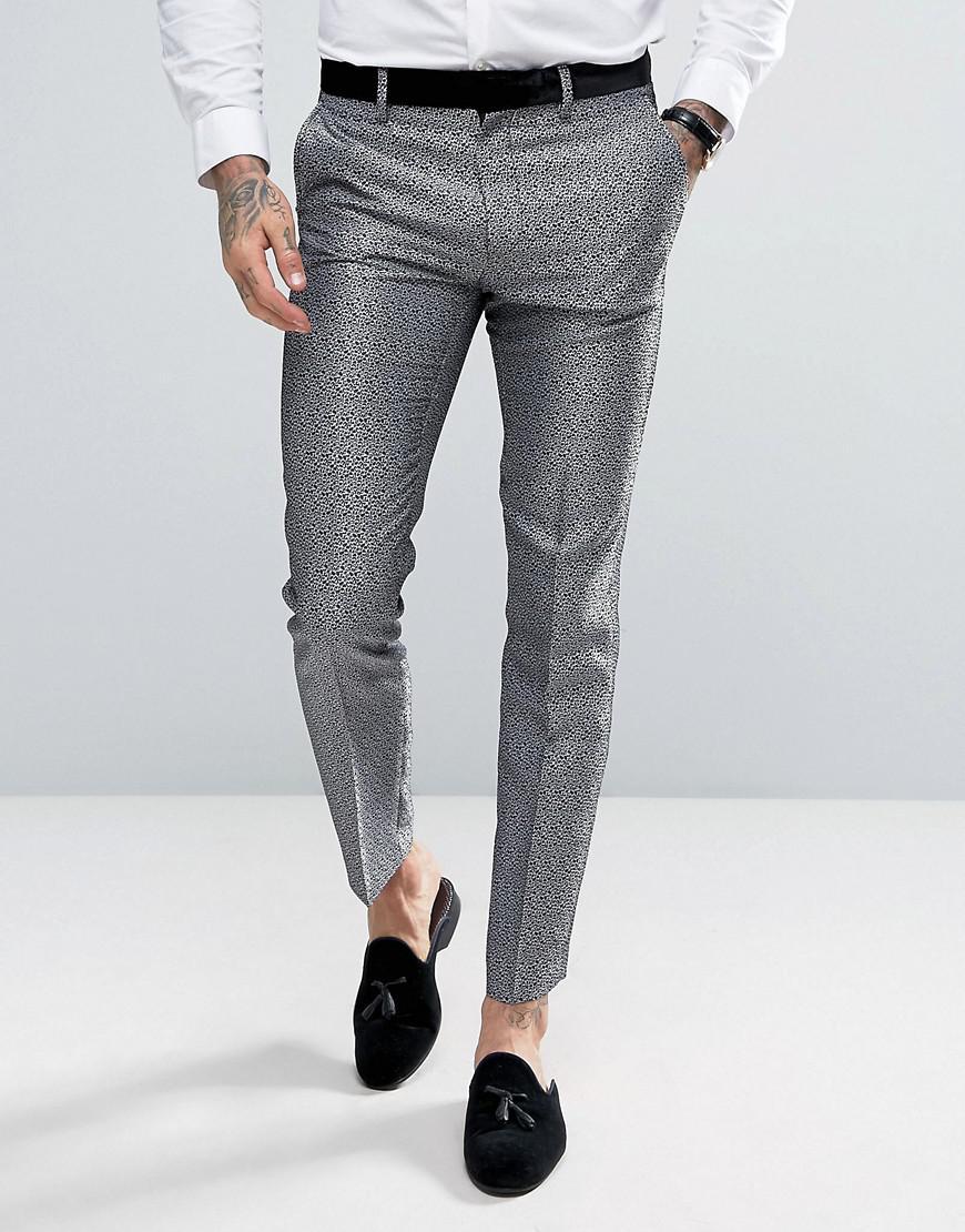 681a30f66270 ASOS Skinny Tuxedo Suit Pants In Silver Leopard Print in Metallic ...