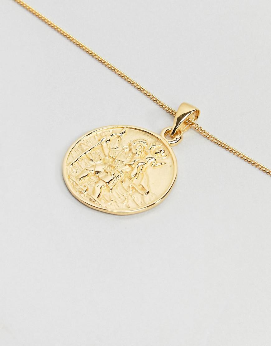 bc4915e533050 Lyst - Collier St-Christophe en argent massif avec plaqu or ASOS ...