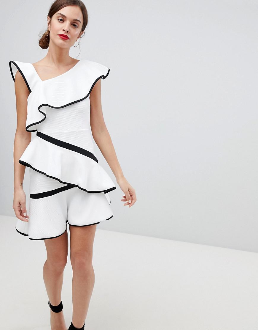 f52c204a935 Lyst - ASOS Mono Tipped Ruffle Mini Dress in White