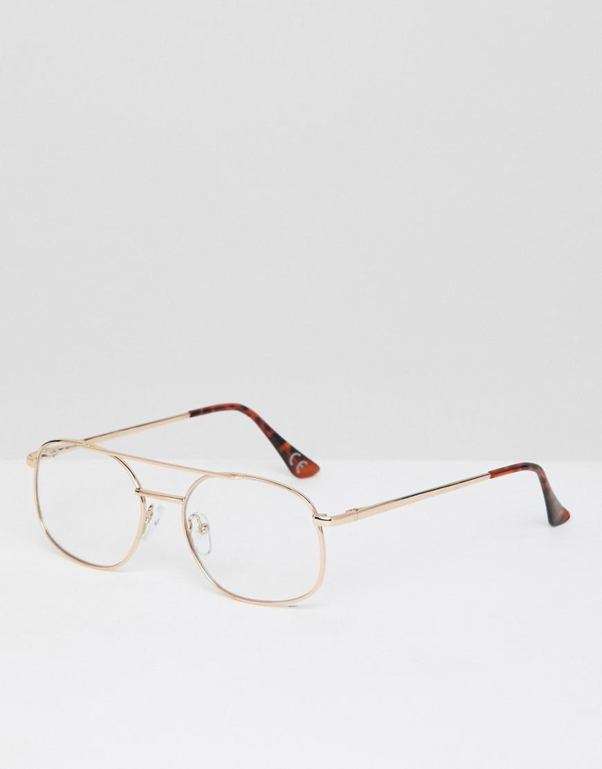 9ca880c4ba6fa Asos Navigator Glasses In Gold With Clear Lens in Metallic for Men ...