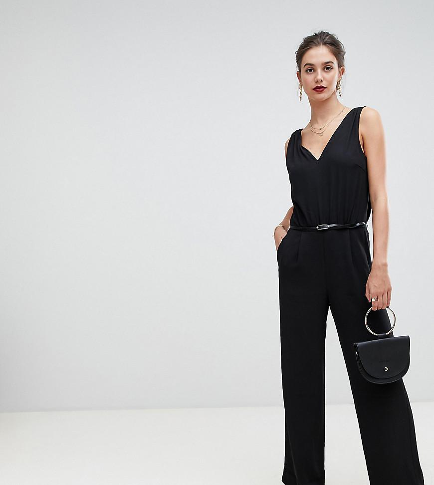 005dbc12cf0 Lyst - Y.A.S Plunge Wide Neck Jumpsuit in Black