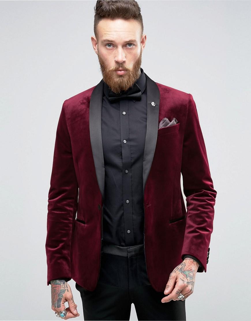 Lyst - Asos Skinny Blazer In Burgundy Velvet in Red for Men