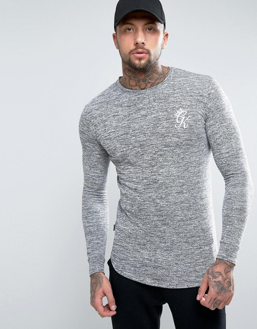 87fd726a Gym King Knitted Long Sleeve T-shirt In Muscle Fit in Black for Men ...