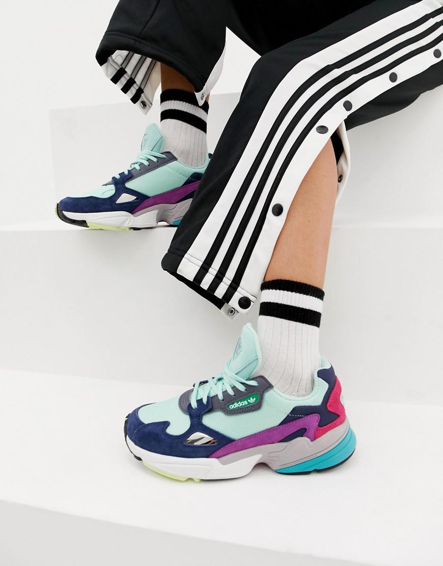 online retailer e87c1 27745 adidas Originals. Womens Green Falcon Trainer In Mint Multi