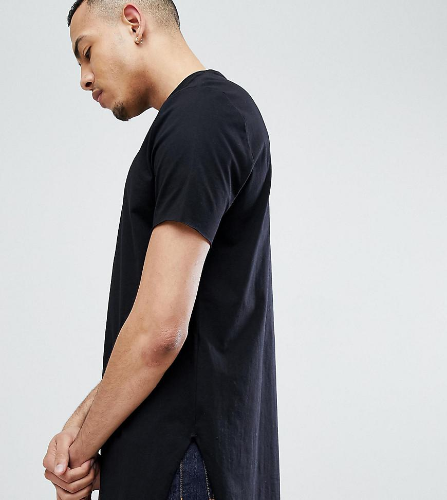 8eb2158ef640 ASOS. Men's Design Tall Super Longline T-shirt With Extra Long Side Splits  And Raw Edges In Black
