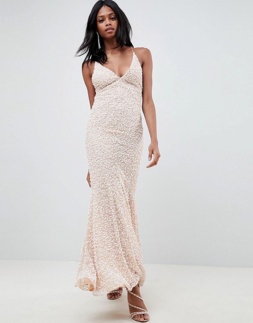 0e0d6b0b22 ASOS All Over Embellished Strappy Back Maxi Dress in Pink - Lyst