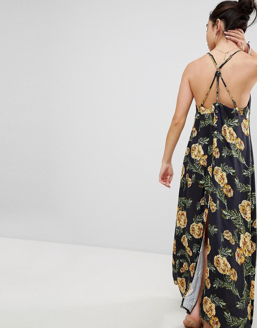b56d8f1924 Lyst - Somedays Lovin River Running Floral Maxi Beach Dress With Side Split  in Black