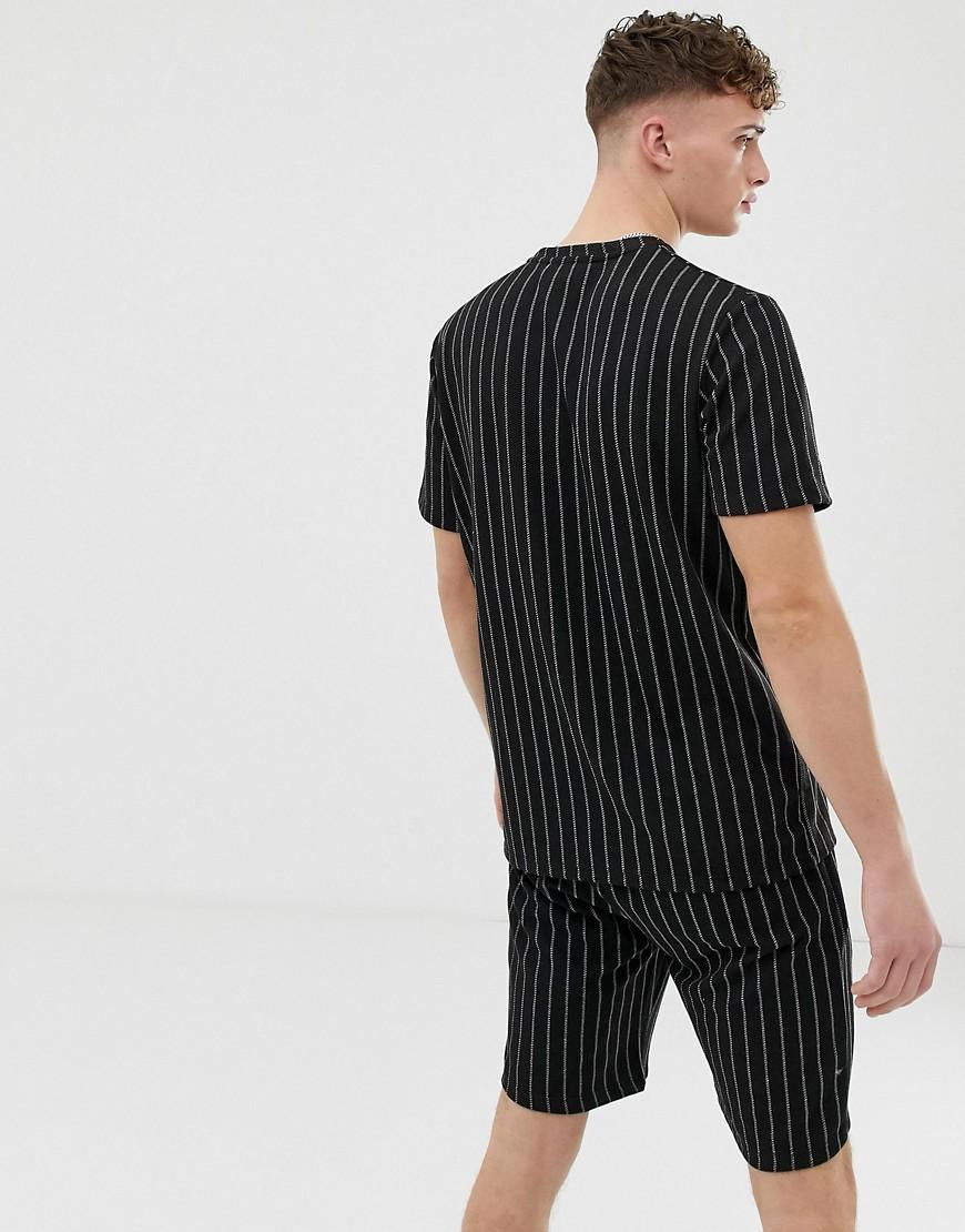 Criminal Damage Co Ord Oversized T Shirt In Black With Pin Stripe In