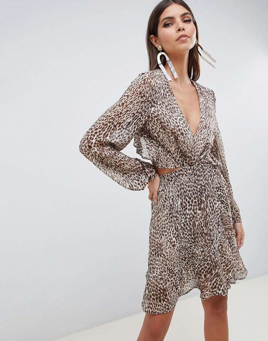 ASOS. Women s Brown Long Sleeve Mini Dress With Open Back In Animal Print  With Ruffle Details f26a3d81c