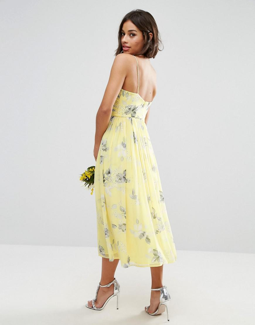 0fac0e5f16b Asos Wedding Rouched Midi Dress In Sunshine Floral Print in Yellow ...