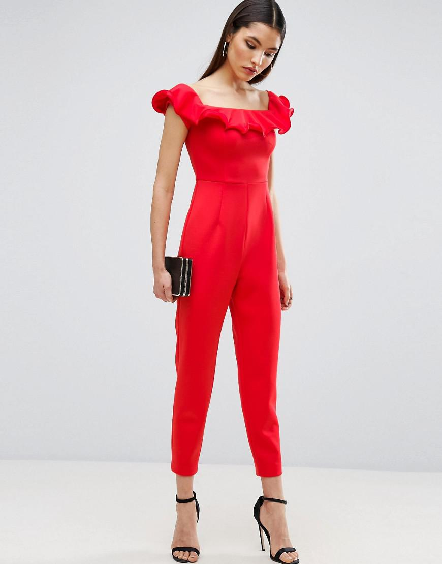 291a40d8aceb ASOS Off Shoulder Jumpsuit In Scuba With Ruffle Neck Detail in Red ...