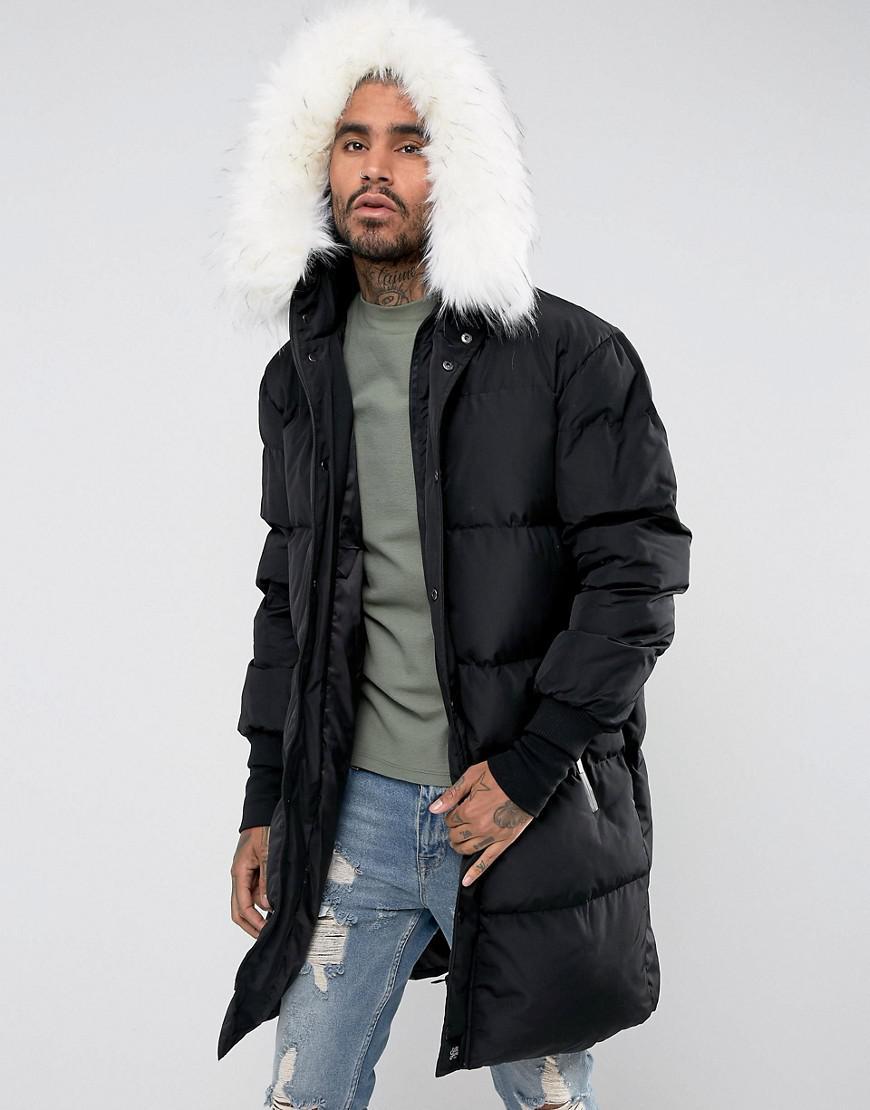 51d86c5f2e242 Sixth June Longline Puffer Jacket In Black With Faux Fur Hood in ...