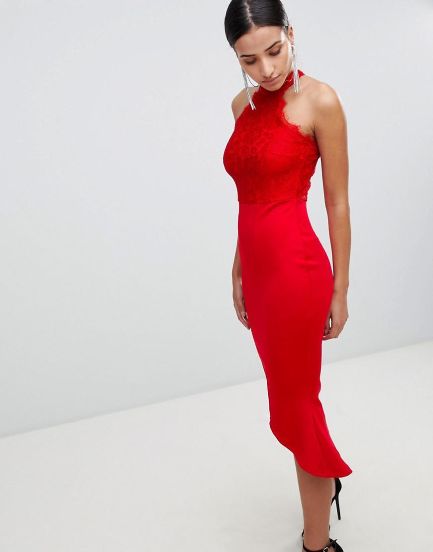 Lyst - AX Paris Lace Racer Neck Pephem Dress In Scuba in Red 96076f7e2