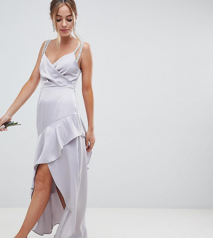 d3c6964147 ASOS. Women s Gray Asos Design Petite Pearl Trim Strap Maxi Dress With  Ruffle Skirt