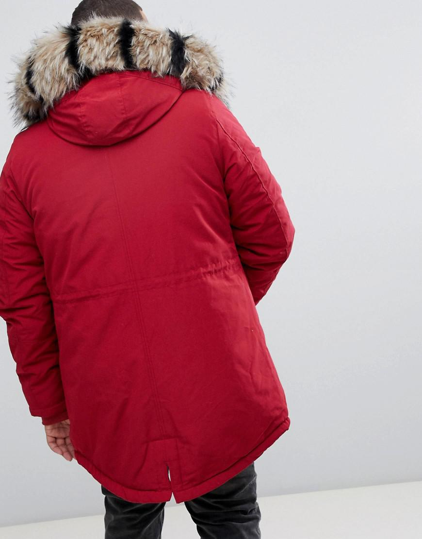 e6dad24043814 Lyst - Sixth June Parka Coat In Red With Black Faux Fur Hood in Red for Men  - Save 20%