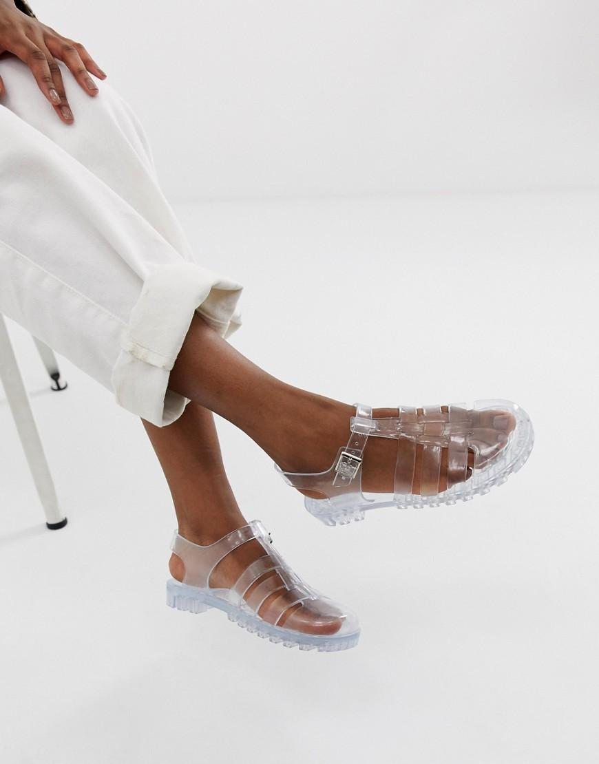 f54c0f728e59 Lyst - ASOS Fuller Fisherman Clear Jelly Flat Sandals